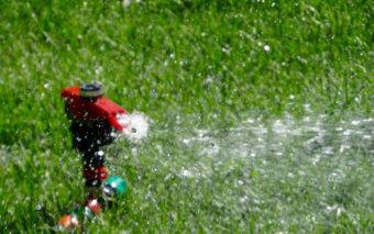 lawn sprinkler watering grass