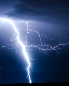 Lightning against a dark sky